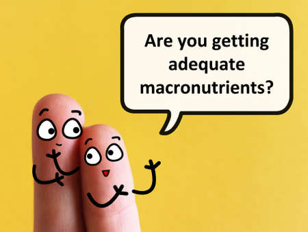 Two fingers are decorated as two person. One of them is asking another if he is getting adequate macronutrients.