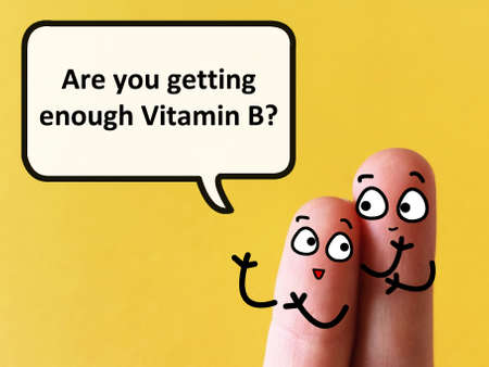 Two fingers are decorated as two person. One of them is asking another if he is getting enough vitamin B