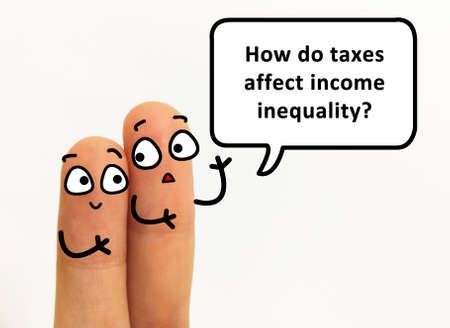 Two fingers are decorated as two person. One of them is asking how taxes affect income inequality.