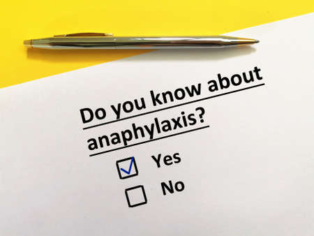 One person is answering question about vaccines. The person knows about anaphylaxis.
