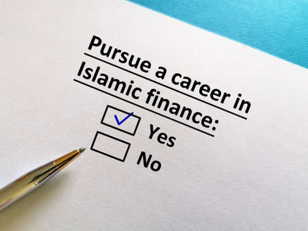 One person is answering question. He wants to pursue a career in Islamic finance.