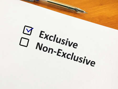 One person is answering question. He chooses exclusive over non-exclusive.