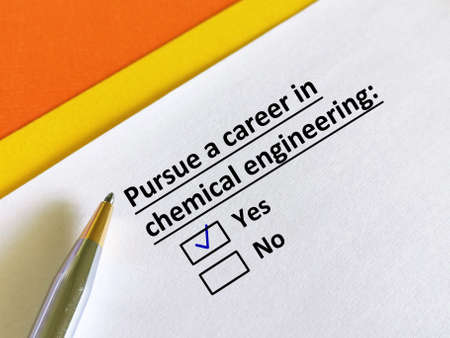 One person is answering question. He wants to pursue a career in chemical engineering.