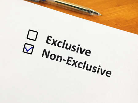 One person is answering question. He chooses non-exclusive over exclusive.