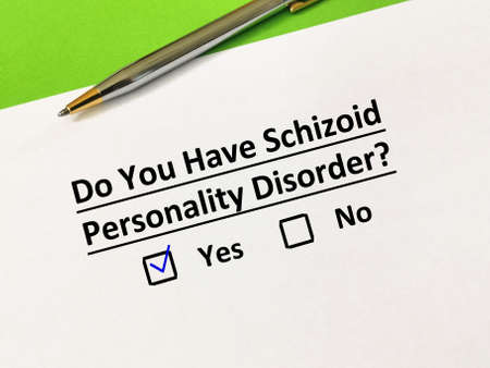 One person is answering question about personality disorder. He has schizoid personality disorder. Banco de Imagens