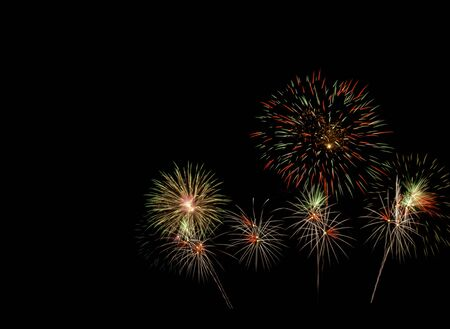 Firework beautiful color isolated on dark night sky with coppy space