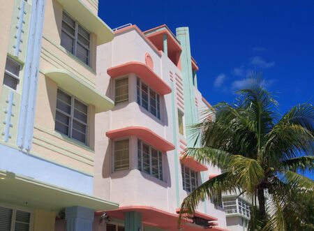 Art deco building and hotels on historic ocean drive, South Beach Florida