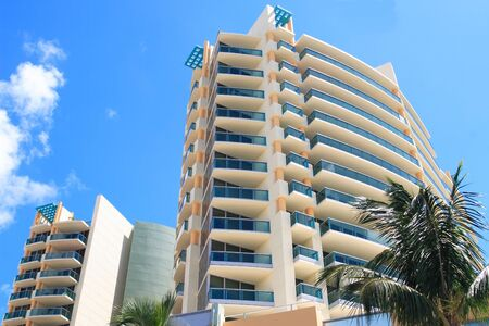 Tropical apartment building over looking the ocean