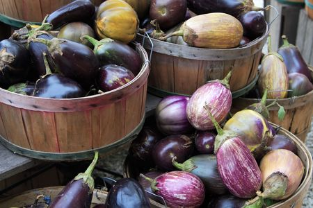 Eggplant in baskets at the farm stand