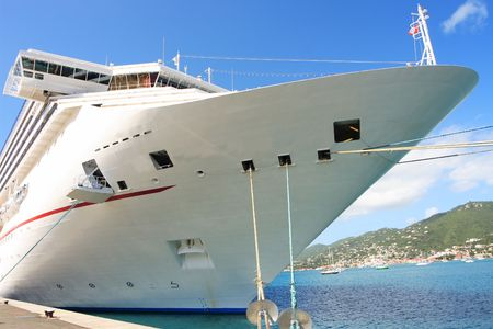 Caribbean Cruise Ship docked on the island of St. Thomas Stock Photo