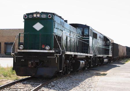 Diesel railroad Locomotive engine on a side track