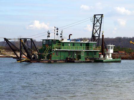 Dredge barge on Long Island river