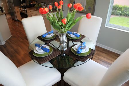 dining room: High-line kitchen dinette set table Stock Photo