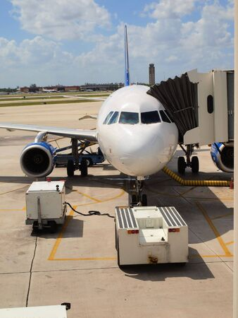 Airliner parked at the gate ready for boarding  photo