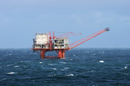 gulf of mexico: Gulf of Mexico oil drilling rig in stormy seas Stock Photo