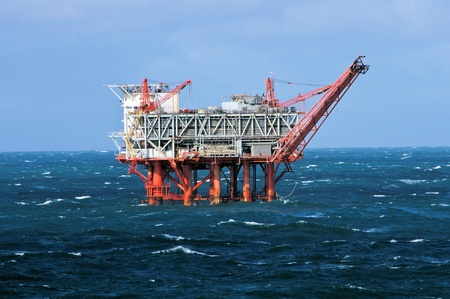 spills: Gulf of Mexico oil drilling rig in stormy seas Stock Photo