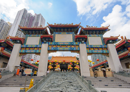 sin: front gate of wong tai sin temple in hong kong