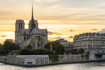 church dome: Notre Dame de Paris Cathedral and Seine River at night