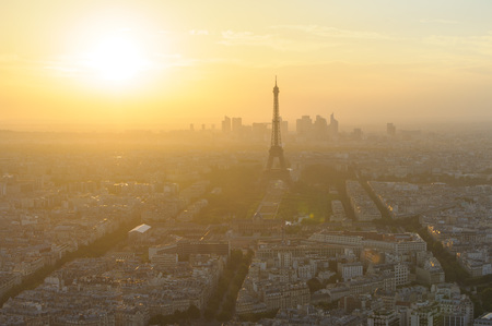panoramic roof: cityscape of paris in the dusk with eiffel tower