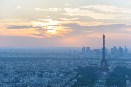 mists: cityscape of paris in the dusk with eiffel tower