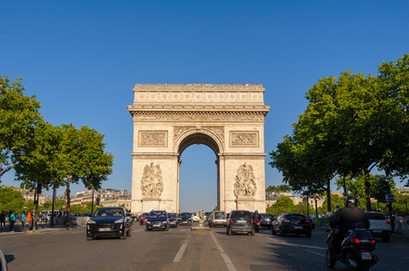 paris france: Arc de Triomphe in Paris, France