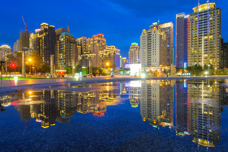 Skyline of Taichung city in Taiwan at night
