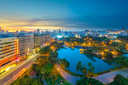 Cityscape of Taichung at night