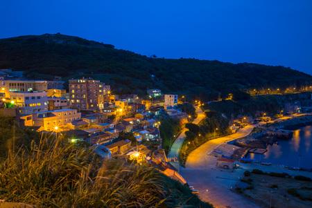 night view of Lehua and Zhongliu Village in Dongyin, Matsu