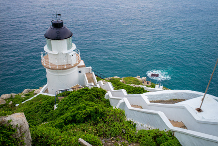 navigational light: Dongyong Lighthouse on the coastline in Matsu, Taiwan