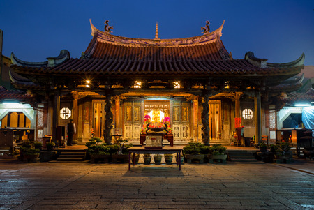 night view of Lung shan temple in Lukang, Taiwan Stock Photo