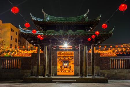 鹿港、台湾で肺シャン寺の夜景 写真素材