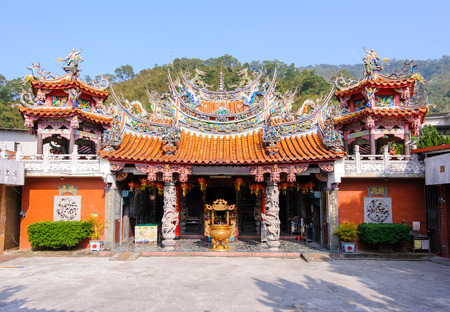 Chinese temple under the blue sky in taiwan