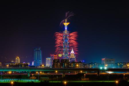 台北 101 の花火ショー 写真素材