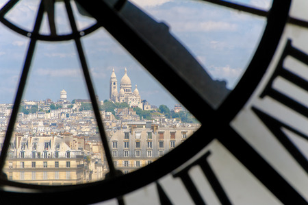 d: View through dorsay clock tower in Paris, France