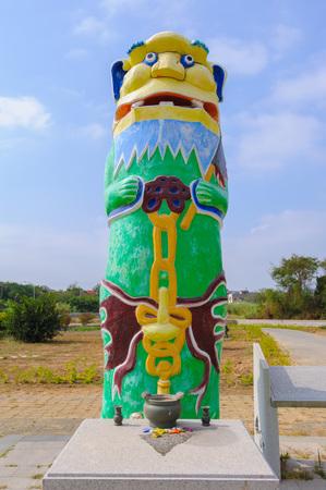 金門、台湾の保護者のライオンの像