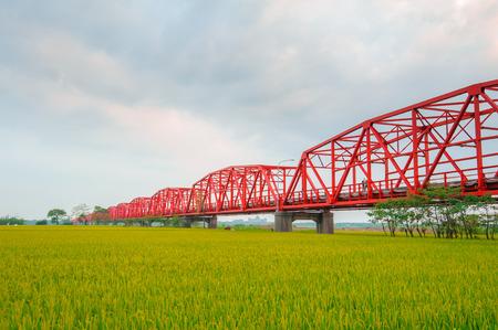 Xiluo Bridge over the farm land in Yunlin, Taiwan 写真素材