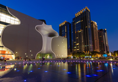 opera house: night view of taichung with opera house Editorial