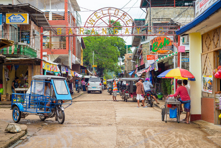coron: street view of Coron town in Palawan, Philippines.