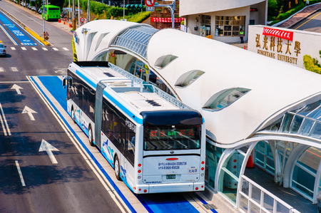 bus rapid transit BRT system in Taichung, Taiwan Editorial