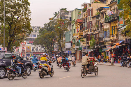 noise pollution: Street view of Hanoi, the capital of Vietnam.