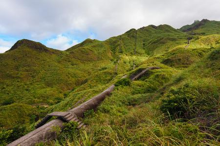 flue season: mountain with ruin in jinguashi, Taipei, Taiwan
