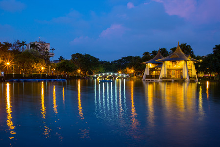 Night scene of Taichung in a park