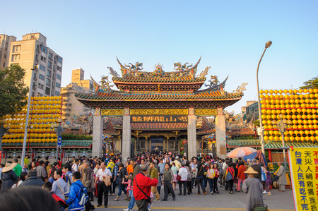 traditional Chinese temple named Mengjia Longshan Temple in Wanhua District, Taipei, Taiwan