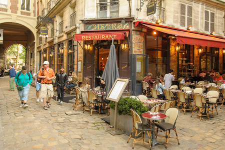 footpath: street view of Paris with bar and restaurants in France