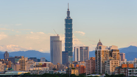 skyline of the taipei city by the river Stock Photo