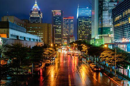 rain weather: cityscape in the Xinyi financial district in Taipei, Taiwan