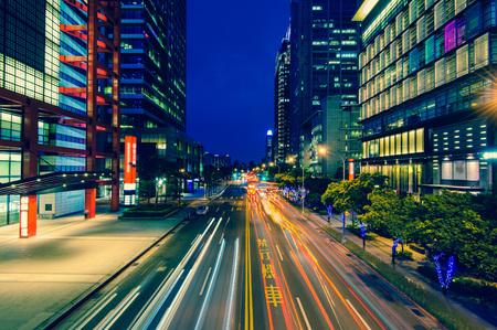交通道で台北の夜景 写真素材