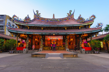 ancient tradition: night view of Bao An temple in Taipei, Taiwan
