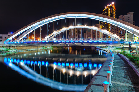 love park: Zhong Du Bridge At Dusk Stock Photo