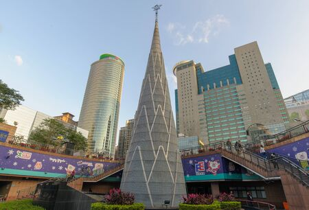 huge christmas tree: A huge Christmas Tree in front of the new Taipei city hall for the holiday